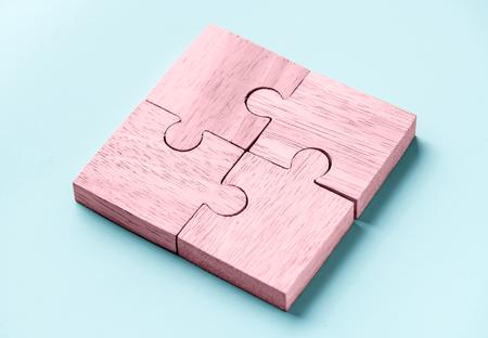 Jigsaw trabajo en equipo concepto macro shot