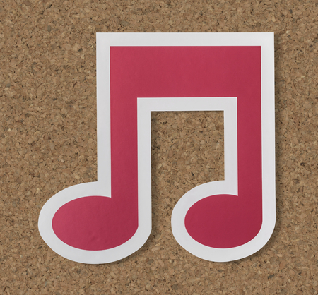 Music note audio cut out icon Foto de archivo - 100774393