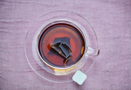 Aerial view of hot tea in cup Stock Photo