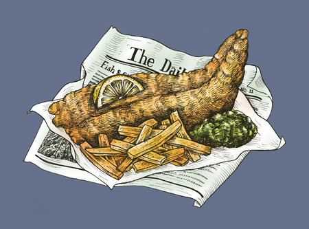 Hand drawn fish and chips Banco de Imagens - 99962221