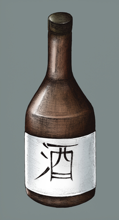 Hand drawn Osake Japanese rice wine 写真素材