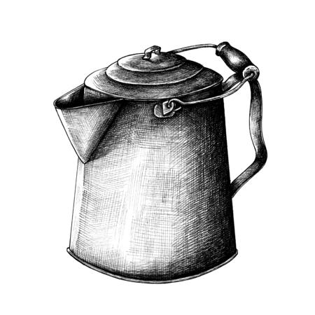 Water kettle vintage style illustration Stock Photo