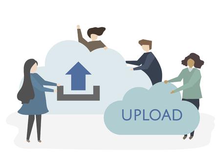 Illustration of people with uploading symbol