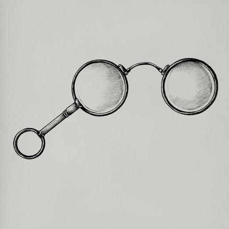 Hand drawn retro eyeglasses isolated on background