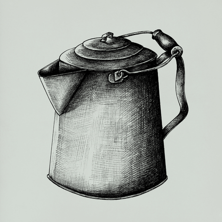 Hand drawn kettle isolated on background