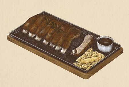 Hand-drawn barbecue ribs menu