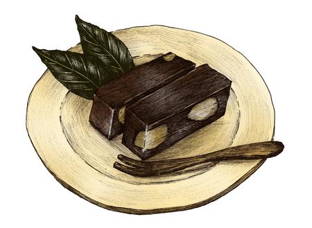 Hand drawn mizu yokan Japanese traditaional dessert