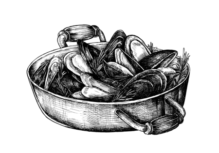 Hand drawn cooked mussels 版權商用圖片 - 99962327