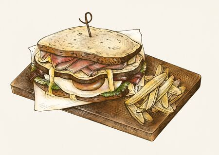 Hand-drawn club sandwich with fries