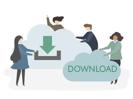 Illustration of people downloading information