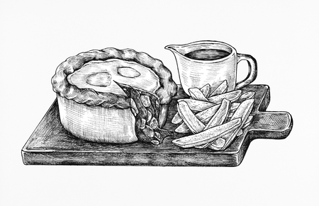Hand-drawn minced beef pie Stok Fotoğraf - 99962347