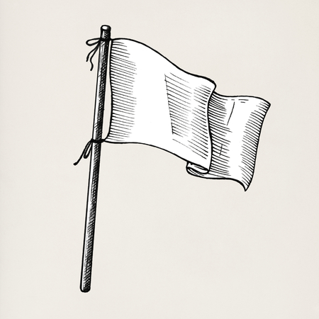 Hand drawn white flag isolated on background Archivio Fotografico - 99962352