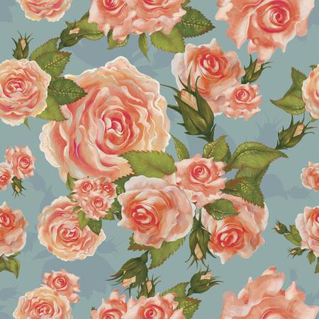 Illustration drawing of Garden roses
