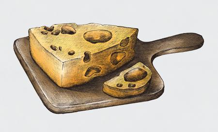 Hand-drawn cheese dairy product Фото со стока - 99962354
