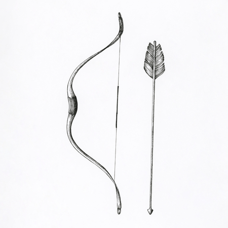 Hand drawn bow and arrow isolated on background Banco de Imagens