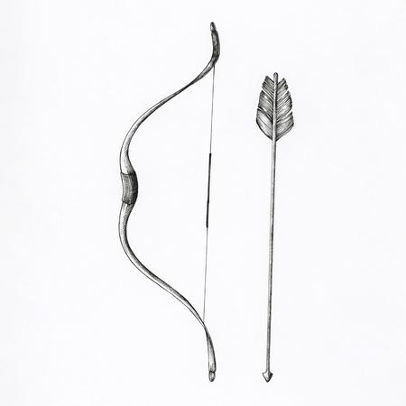 Hand gezeichnete Bogen und Pfeil isoliert auf den Hintergrund Standard-Bild - 99962358