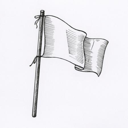 Hand gezeichnete weiße Flagge lokalisiert auf Hintergrund Standard-Bild - 99962382