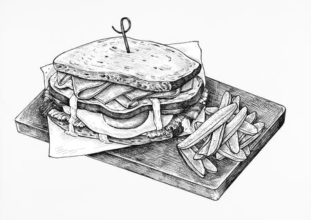Hand-drawn club sandwich Stock Photo