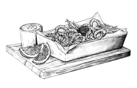 Hand drawn calamari fried squid