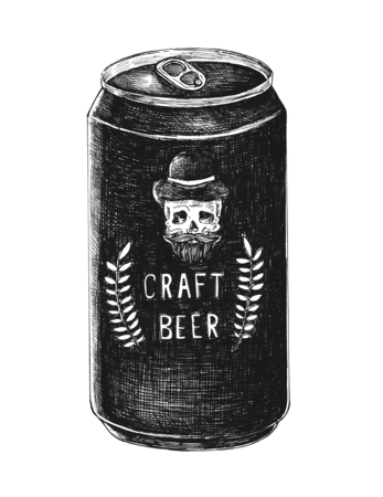 Hand-drawn craft beer can Stock fotó - 99962398