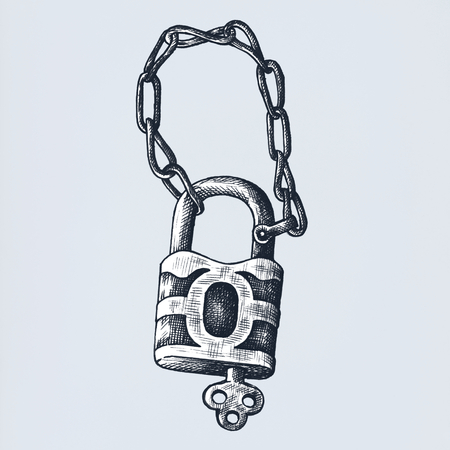 Padlock and key vintage style illustration