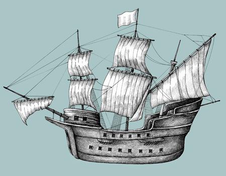 背景に隔離された手描きのヨット 写真素材
