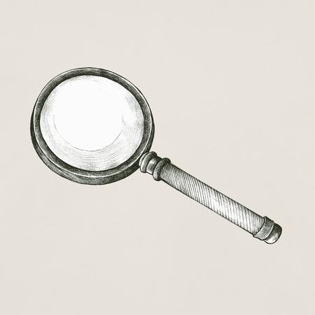Hand drawn magnifying glass retro style 版權商用圖片 - 99962441