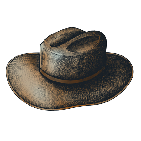 Leather hat vintage style illustration