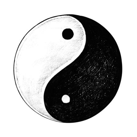 Hand getekend Yin en Yang symbool