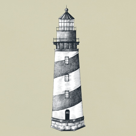 Old lighthouse vintage style illustration Stockfoto