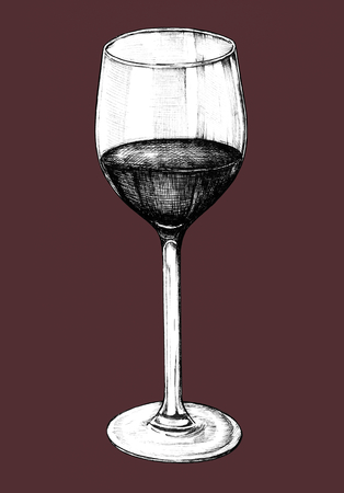 Hand drawn red wine glass Фото со стока - 99962500
