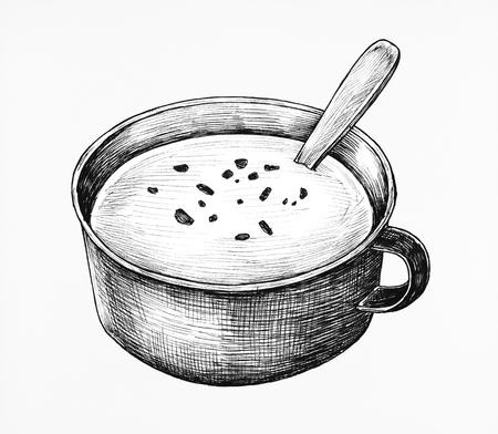 Hand-drawn cream soup