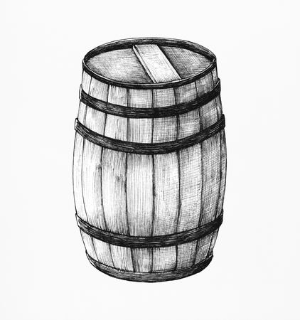 Hand-drawn wooden barrel Stock Photo