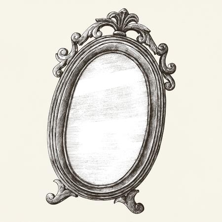 Antike Wand Spiegel alte Stil Illustration Standard-Bild - 99962531