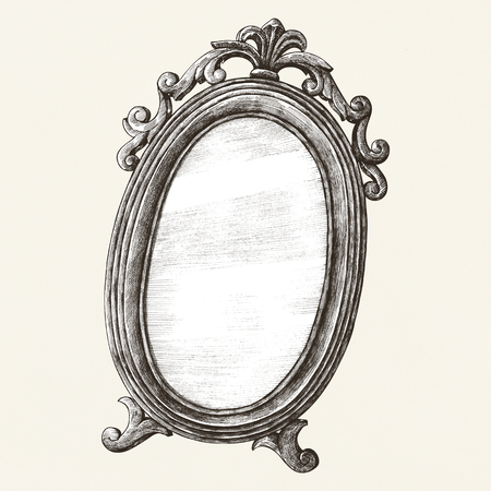 Antique wall mirror old style illustration