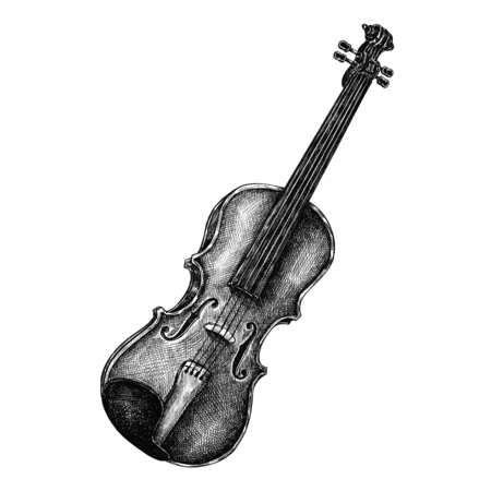 Hand drawn violin isolated on background Stok Fotoğraf