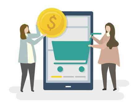 Illustration of online shopping e-commerce Stok Fotoğraf