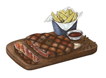 Illustration of steak on platter with fries and dip