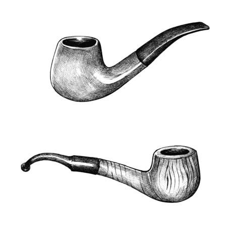 Hand gezeichnete Tabak hölzerne Rohre Standard-Bild - 99962655