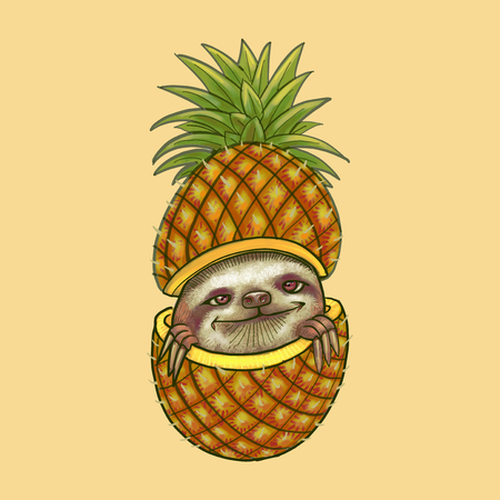 Illustration of sloth in pineapple
