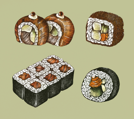 Hand drawn sushi Japanese food Stock Photo
