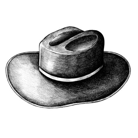 Leather hat vintage style illustration