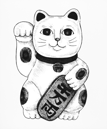 Hand drawn maneki neko figurine 스톡 콘텐츠