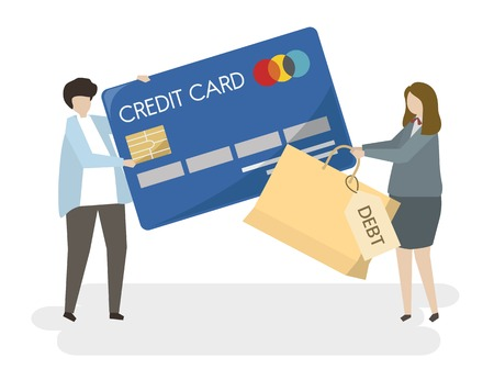 Illustration on people with a credit card Фото со стока