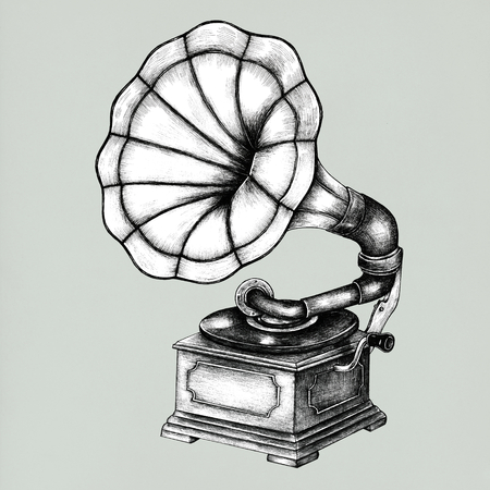 Hand drawn gramophone isolated on background