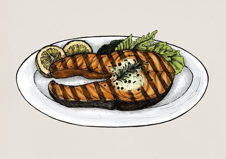 Hand drawn grilled fish steak Archivio Fotografico - 99962735