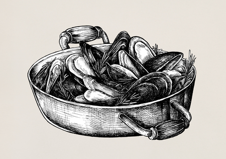 Hand drawn cooked mussels