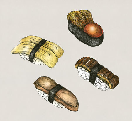 Hand drawn sushi set Japanese food