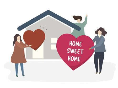 Illustration of a happy family at home Stock Photo