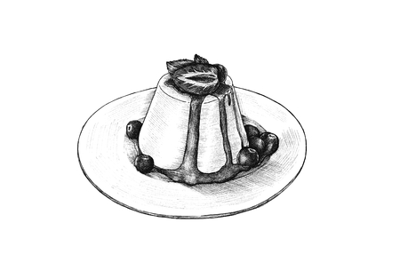 Hand-drawn pudding a savory dish